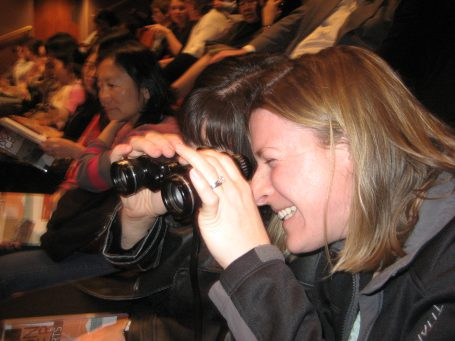 Taking in a musical performance with one pair of binoculars, no problem.